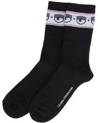 Chiara Ferragni Logomania Cotton Blend Socks - Black