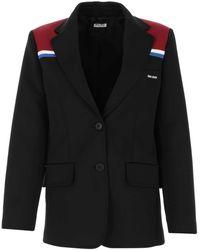 Miu Miu Stripe Detail Single Breasted Blazer - Black