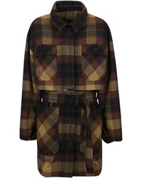 KENZO Belted Checked Coat - Brown