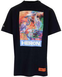 Heron Preston Embroidered Printed Organic Cotton-jersey T-shirt - Black