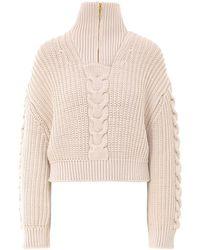 Nanushka Half-zip Cable-knit Sweater - Natural