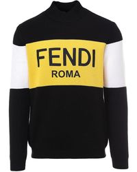 Fendi Logo Color Block Sweater - Multicolor