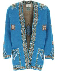 Etro Embroidered Ribbed Cardigan - Blue