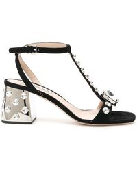 Miu Miu Crystal Embellished Sandals - Black