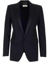 Saint Laurent Tube Tuxedo Jacket - Black