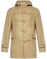 Saint Laurent Hooded Duffle Coat - Natural