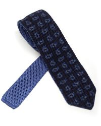 Ermenegildo Zegna Paisley Embroidered Pattern Tie - Blue