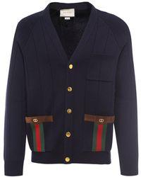 Gucci Web Trimmed Knit Cardigan - Blue