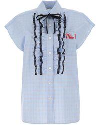 Miu Miu Ruffled Sleeveless Shirt - Blue