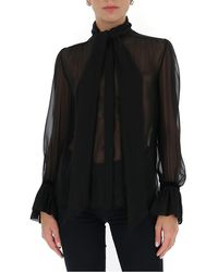Saint Laurent Sheer Blouse - Black