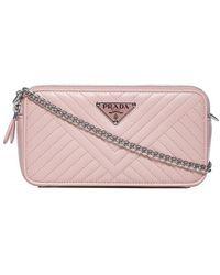 da2a134ed72f Lyst - Prada Envelope Chain Strap Shoulder Bag in Pink