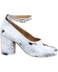 Maison Margiela Tabi Paint Effect Court Shoes - White