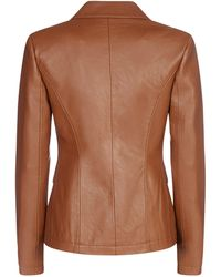 Pinko Single Breasted Faux-leather Jacket - Brown