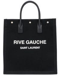 Saint Laurent Rive Gauche Canvas Tote Bag - Black