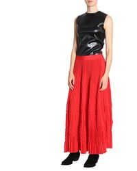 Givenchy Long Pleated Skirt - Red