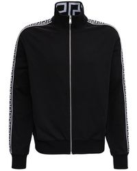 Versace Black Cotton Sweatshirt With Greca Inserts