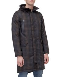 Herno Chequered Hooded Coat - Multicolour