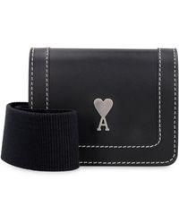 AMI Logo Plaque Crossbody Bag - Black