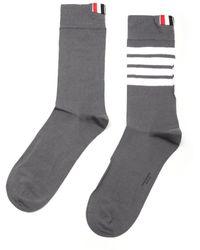 Thom Browne Mid Calf Socks In Light Cotton - Grey