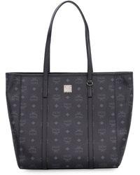 MCM Monogram Print Shopper Bag - Black