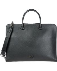 Prada Logo Laptop Bag - Black