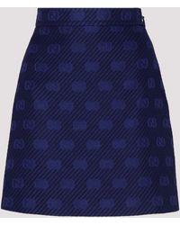 Gucci GG Diagonal Striped A-line Skirt - Blue