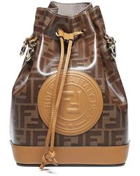 Fendi Mon Tresor Fabric Logo-motif And Leather Bucket Bag - Brown