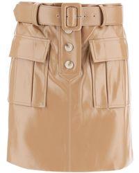 Self-Portrait Faux Leather Mini Skirt 8 Faux Leather - Natural