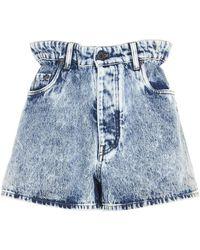 Miu Miu Gathered Waist Denim Shorts - Blue