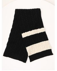Saint Laurent Contrasting Panelled Cable Knit Scarf - Black