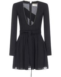 Saint Laurent Plunging Neckline Long Sleeve Mini Dress - Black