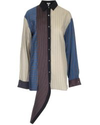 Loewe - Patchwork Stripe Shirt - Lyst