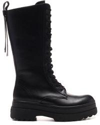 RED Valentino Redvalentino Garavani Mid Calf High Combat Boots - Black