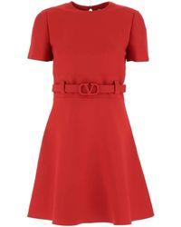 Valentino Belted Waist Short-sleeved Dress - Red