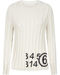 MM6 by Maison Martin Margiela Ribbed Crew Neck Jumper - Natural