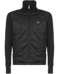 Prada Logo Plaque High-neck Jacket - Black