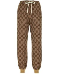 Gucci GG Print Technical Jersey Jogging Pants - Brown