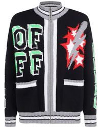 Off-White c/o Virgil Abloh Logo Intarsia Knit Cardigan - Multicolor