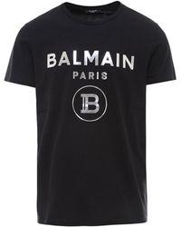 Balmain Metallic Logo Printed T-shirt - Black