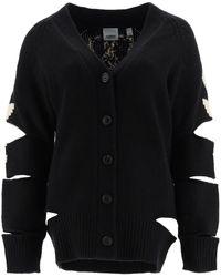 Burberry Crest Intarsia V-neck Cardigan - Black
