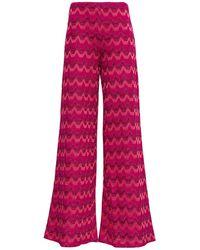 M Missoni Flared Lurex Trousers - Pink