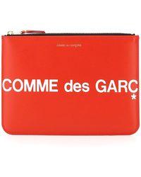 Comme des Garçons Comme Des Garcons Wallet Leather Pouch With Logo - Red