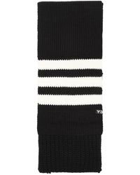 Y-3 Logo Chunky Knit Scarf - Black