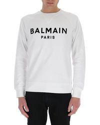 Balmain Flocked Logo Sweatshirt - White