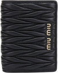 Miu Miu Matelassé Billfold Wallet - Black