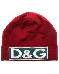 Dolce & Gabbana Logo Patch Beanie - Red