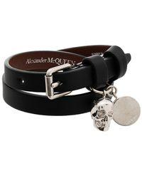 Alexander McQueen Leather Skull Charm Bracelet - Black