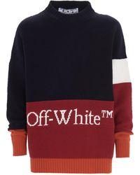 Off-White c/o Virgil Abloh Logo Intarsia Colour-block Jumper - Blue