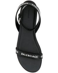 Balenciaga Allover Logo Ankle Strap Sandals - Black