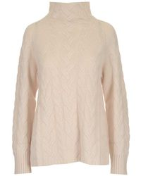 Max Mara High-neck Cable Knit Jumper - White